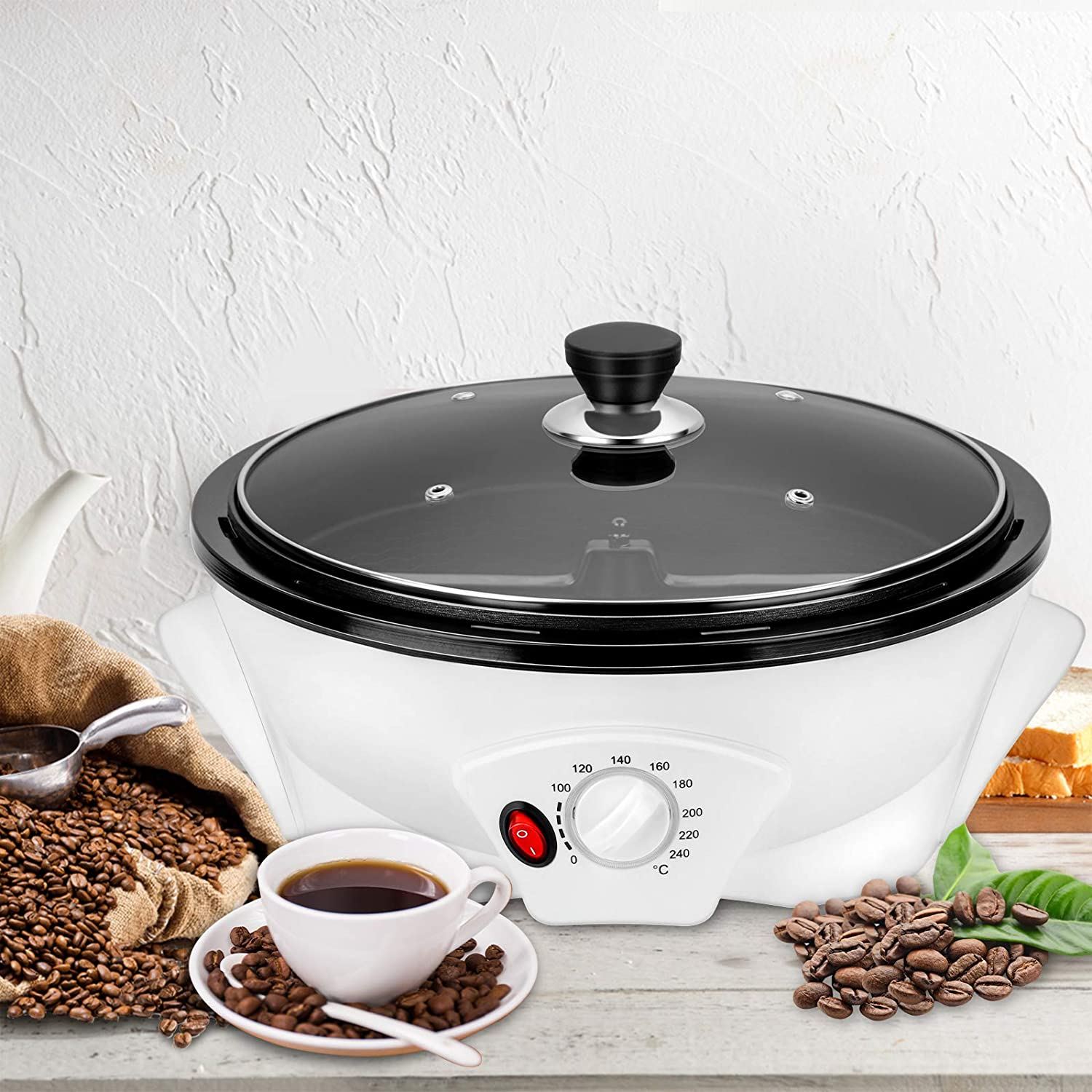 【US STOCK】Coffee Roaster Machine for Home Use, 800g Capacity Electric Coffee Bean Roaster, Multifunctional Nut Peanut Cashew Chestnuts Roasting, Non-Stick Design, 110V