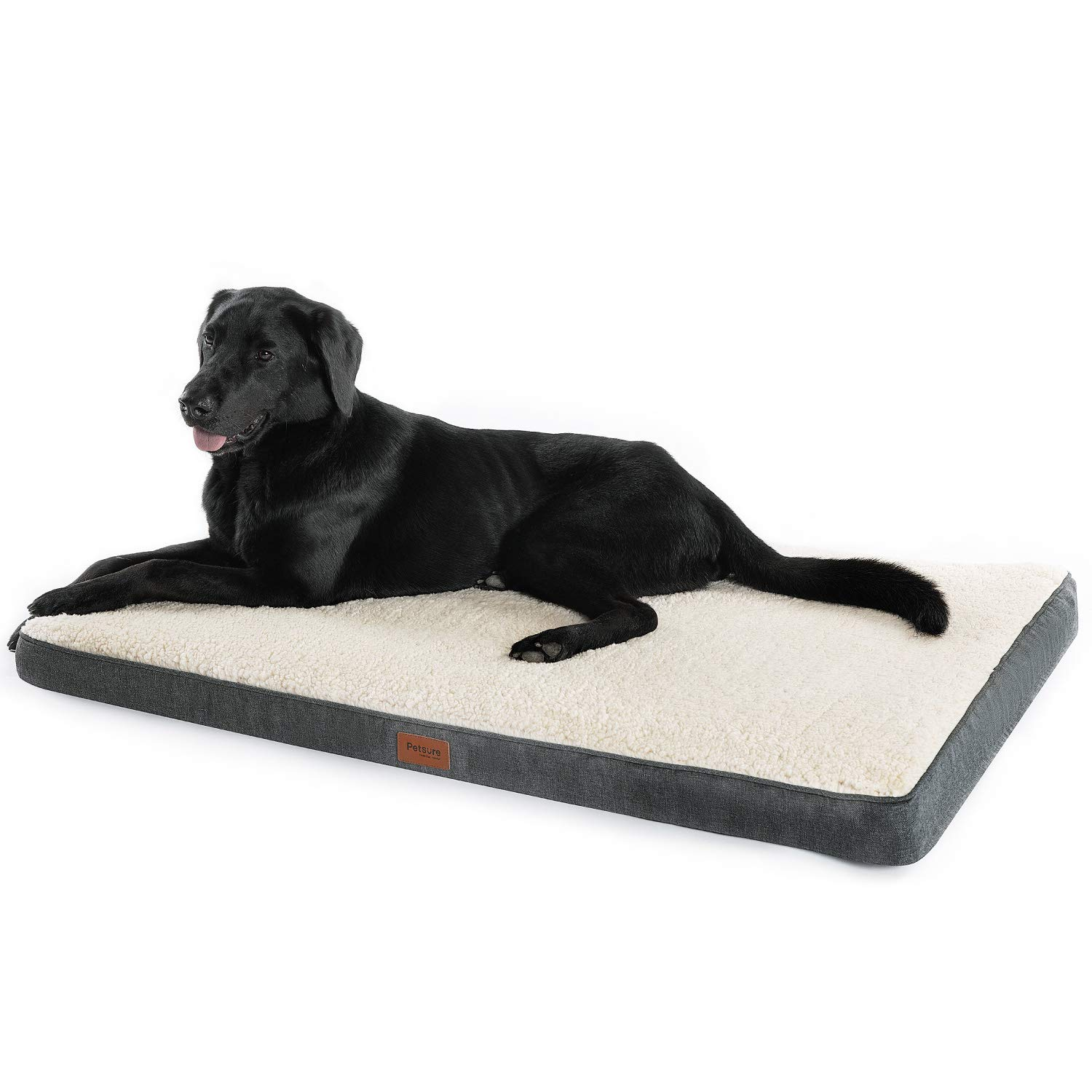 Petsure Orthopedic Dog Bed (XL, 44''x32''x3'') for Small, Medium, Large Pets Up to 100 lbs - Foam Dog Bed with Plush Sherpa Top - Washable Cover - Grey