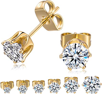 GORGEOUS LARGE 8MM CLEAR CZ YELLOW GOLD PLATED ROUND EARRINGS MENS WOMENS STUDS