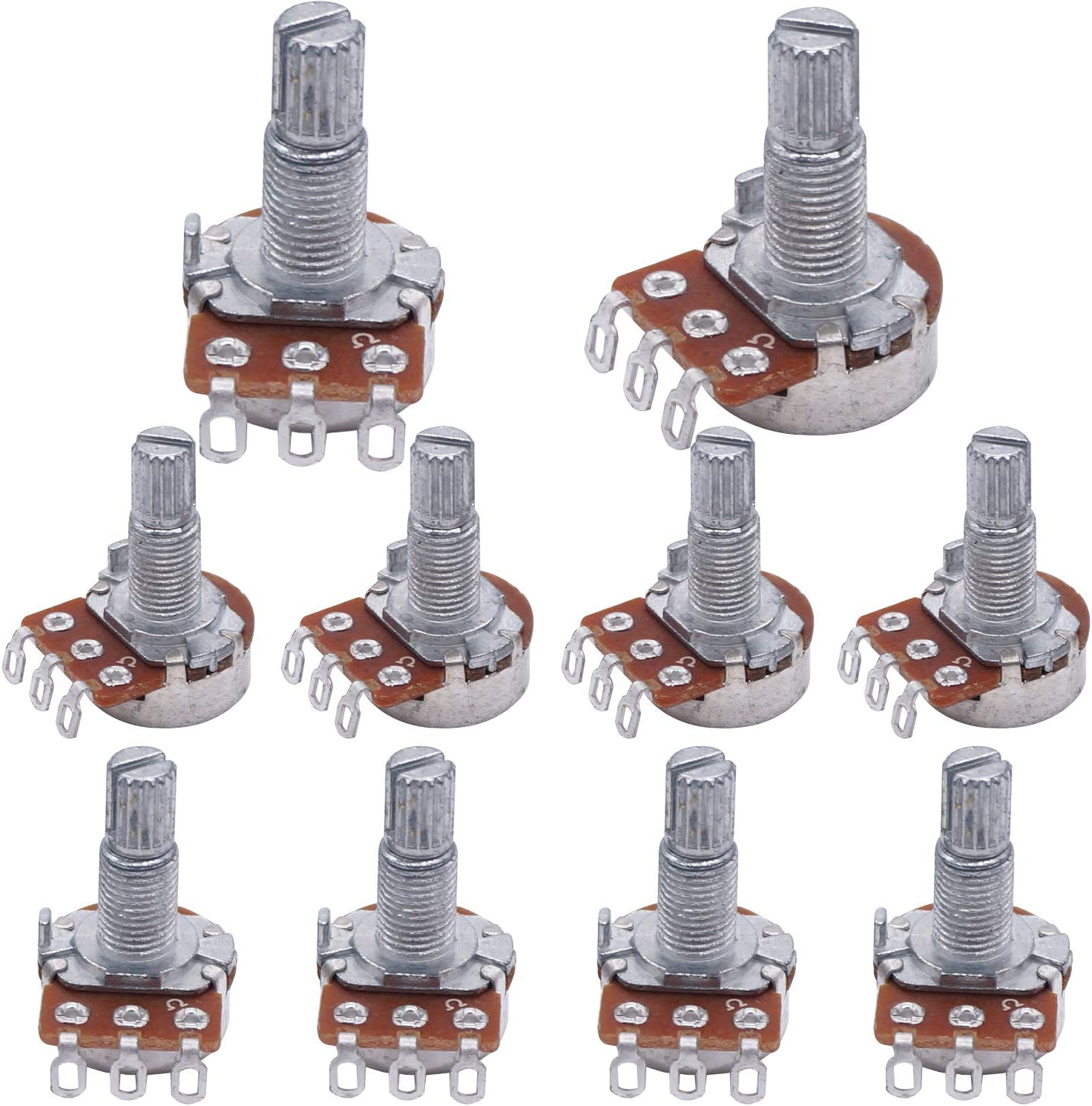 TWTADE//10Pcs A250K ohm Pots Guitar Taper Audio Potentiometers 18mm Shaft,adjustable Volume for musiclily electric Guitar WH148-A250K