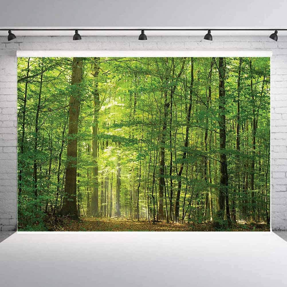 6x6FT Vinyl Photography Backdrop,Woodland,Foliage Forest Summer Photo Background for Photo Booth Studio Props