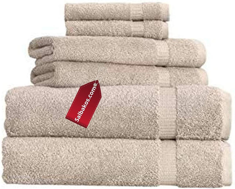 SALBAKOS Cambridge Ultra Luxury Hotel Collection & Spa Bath Towels Turkish Cotton Bath Towels Made in Turkey 700gsm Eco-Friendly - Shower / Toallas De Baño/Bano Bulk Save (6 Piece Set, Taupe)