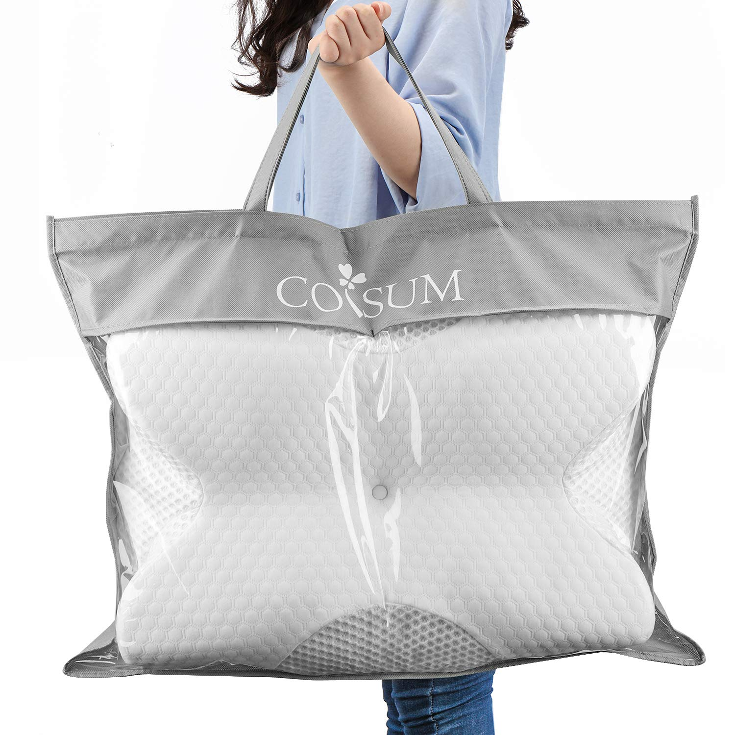 Coisum Back Sleeper Cervical Pillow - Memory Foam Pillow for Neck and Shoulder Pain Relief - Orthopedic Contour Ergonomic Pillow for Neck Support with Breathable Cover by Coisum