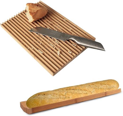 Juego de Pan Compuesto por panera y Tabla de Cortar Bambú Natur y ...
