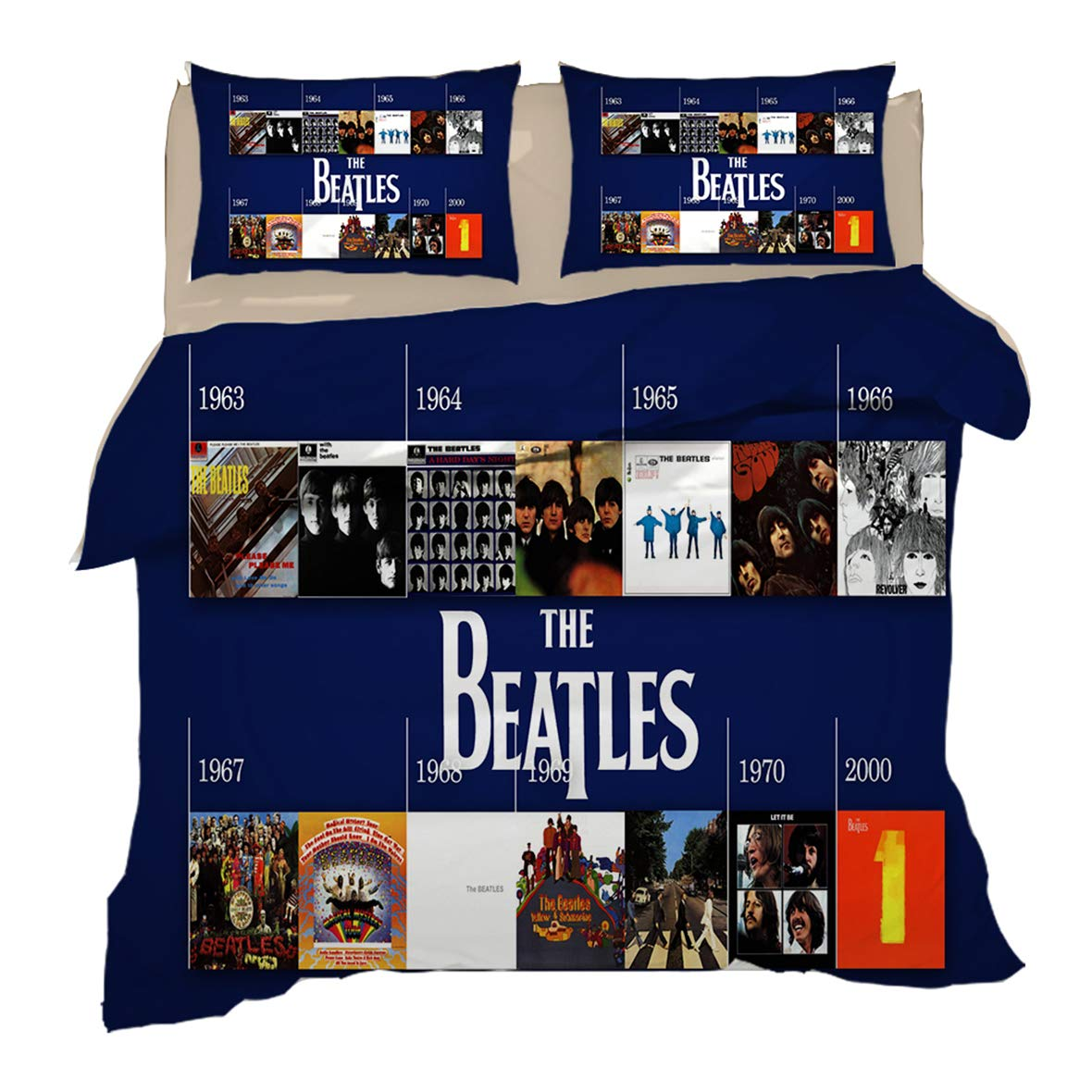 Koongso 3 Pcs The Beatles Print Duvet Cover Set - 3D The Beatles Rock Band Bedding Sets with Zipper Closure for Adults Kids(No Comforter)