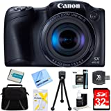 """Canon Powershot SX410 IS Black Digital Camera and 32GB Card Bundle - Includes 32GB Memory Card, Carrying Case, NB-11L Battery, Memory Card Wallet, SD Card Reader, 5"""" Flexible Mini Tripod, Screen Protectors, Lens Cleaning Kit, and Micro Fiber Cloth"""