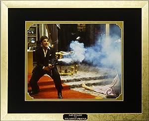 Scarface Movie Memorabilia Al Pacino as Tony Montana Framed Movie Photo with Plate Custom Made Real Wood Modern Gold Frame (15 1/2 x 12 1/2