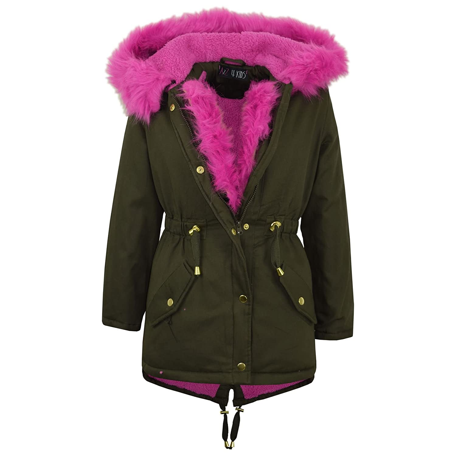 A2Z 4 Kids® Kids Hooded Jacket Girls Faux Fur Parka School Jackets Outwear Coat New Age 7 8 9 10 11 12 13 Years