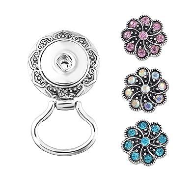 Souarts Mixta Bijoux Mujer Pedrería Botón a Presión 3Pcs y 1 broche gancho magnético para gafas, diseño flor: Amazon.es: Joyería