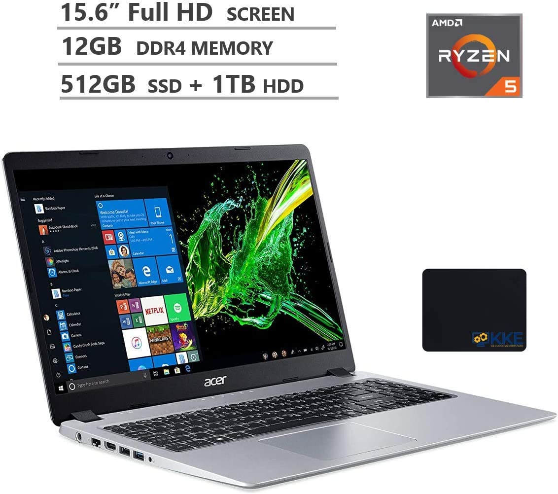 "Acer Aspire 5 Laptop, 15.6"" Full HD Screen, AMD Ryzen 5-3500U Processor up to 3.7GHz, 12GB RAM, 512GB PCIe SSD + 1TB HDD, Webcam,Wireless-AC,HDMI, Win10 Home, Silver, Wireless Mouse,KKE Mousepad"