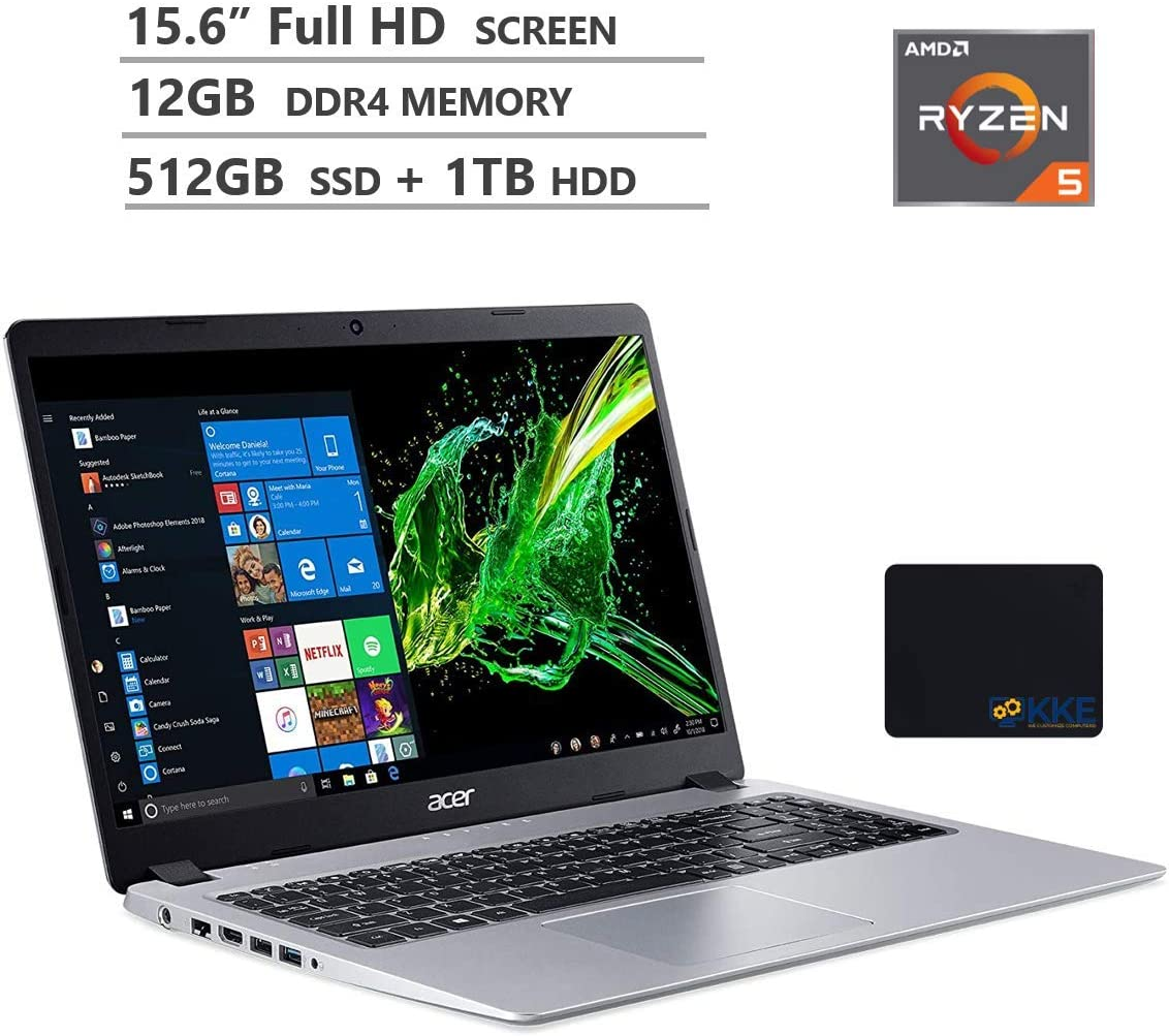 "Acer Aspire 5 Laptop, 15.6"" Full HD Screen, AMD Ryzen 5-3500U Processor up to 3.7GHz, 16GB RAM, 512GB PCIe SSD + 1TB HDD, Webcam, Wireless-AC, HDMI, Win 10 Home, Silver, Wireless Mouse,KKE Mousepad"