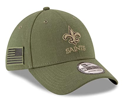 New Era New Orleans Saints 39thirty Stretch Cap On Field 2018 Salute to  Service Green - 13a1314d1