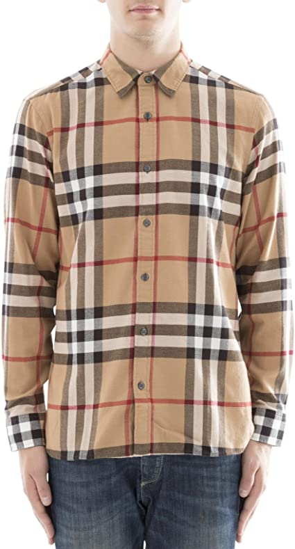 BURBERRY - Camisa casual - para hombre beige 52 : Amazon.es: Ropa y accesorios