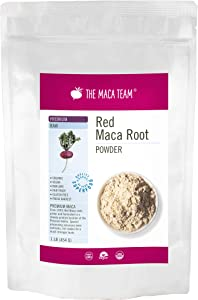 The Maca Team Premium Raw Red Maca Powder, Potent Red Maca Root Powder, Fair Trade, GMO-Free, 1 Pound, 50 Servings