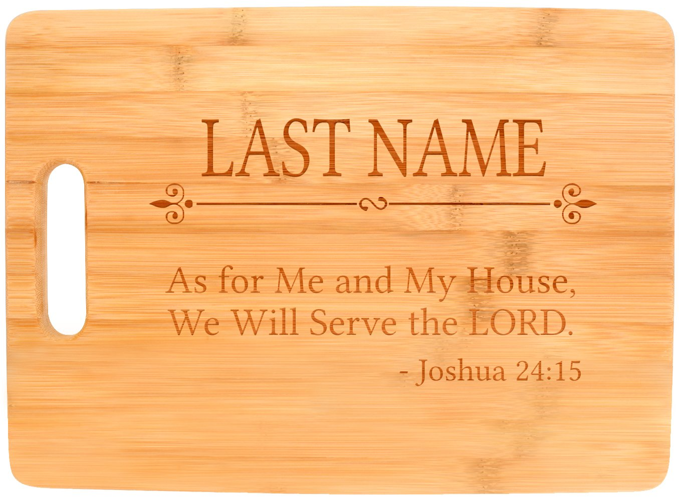 Customized Last Name Serve the Lord Christian Faith Personalized Big Rectangle Bamboo Cutting Board
