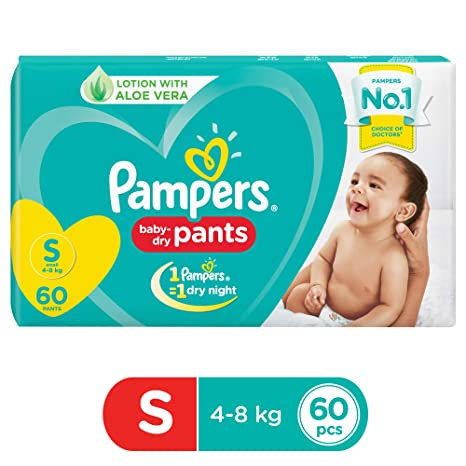 7eadd577ce Buy Pampers New Diapers Pants, Small, 60 Count Online at Low Prices in  India - Amazon.in
