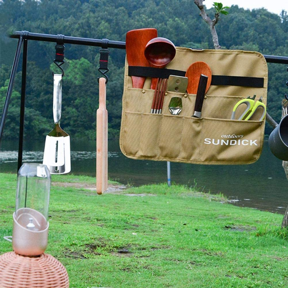 Geschirrtasche Leer Camping Rolltasche Tragbare Bestecktasche Utensilientasche H/ängend Picknick 900D Oxford Stoff Aufbewahrungstasche f/ür Grillgeschirr