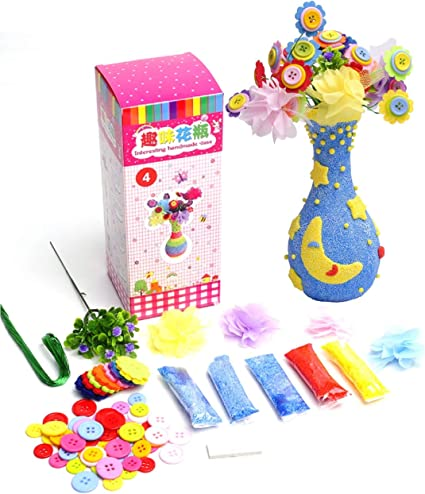 Amazon Com Wakestar Create Your Own Vase And Flowers Fun Diy Craft Kit For Girls Boys Kids Arts And Crafts Toy For 4 5 6 7 8 9 10 Years Old Girls Creativity