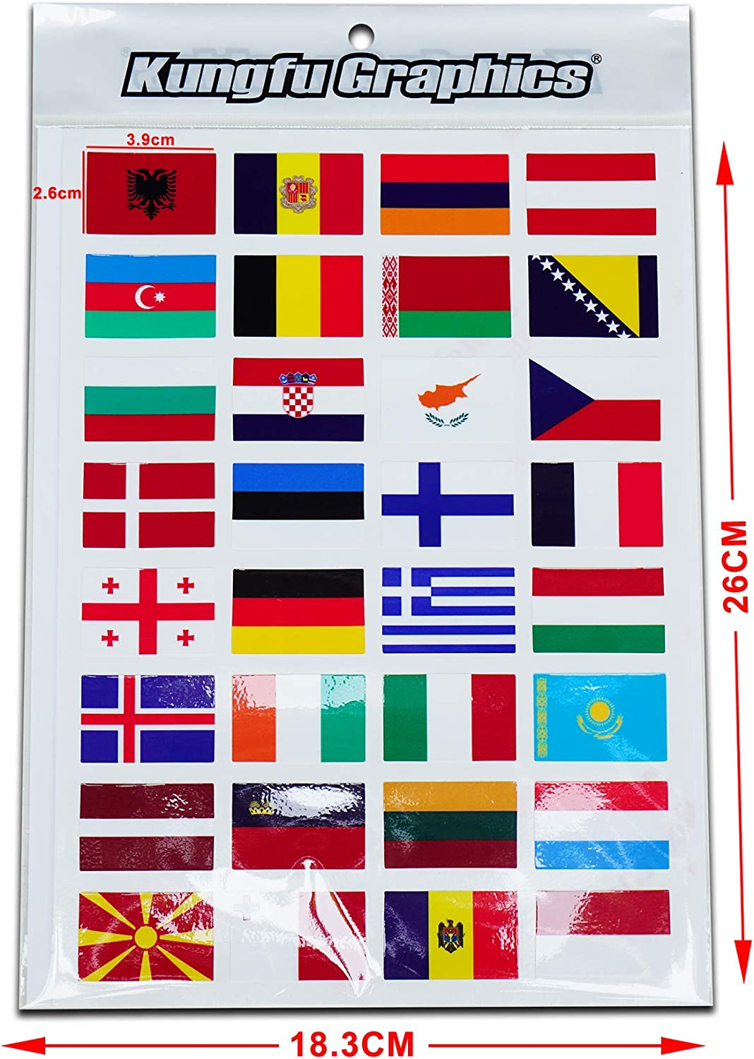 Kungfu Graphics The United States American US USA National Flag Racing Sticker Sheet Universal Red Blue White 7.2x 10.2 inch