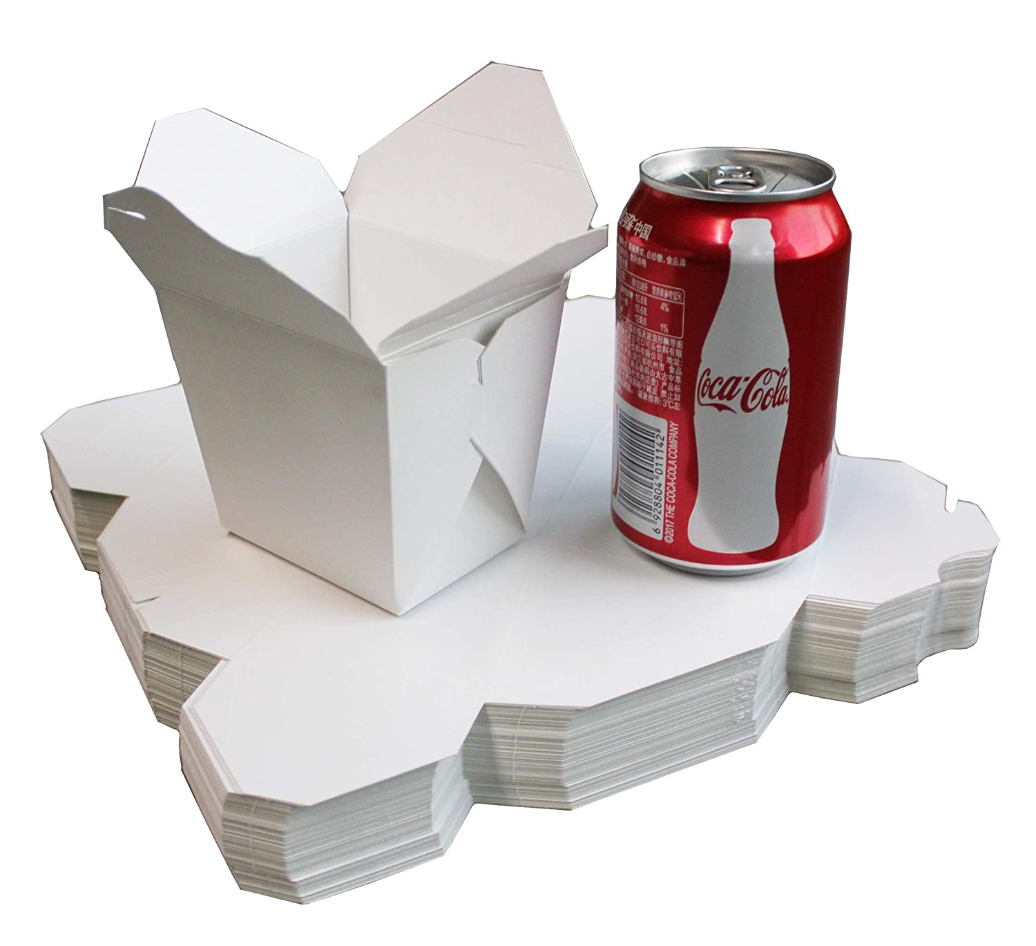 50 Pack 16oz Chinese White take Out Paper Box,Noodle Take Out Food Collapsible Container