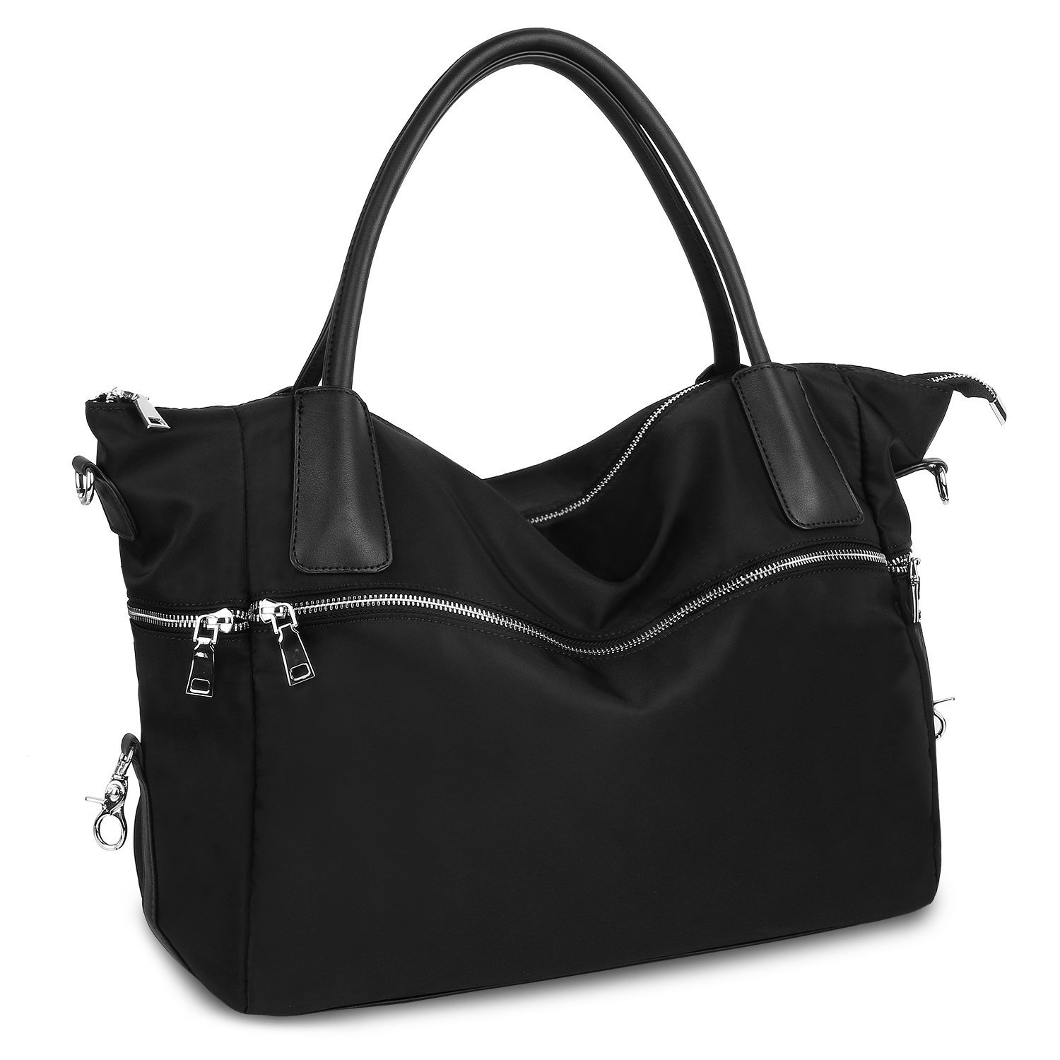 Women's Tote Top Handle Handbag Purse Convertible Shoulder Bag Crossbody Bags with Leather Handle Strap Lightweight Black