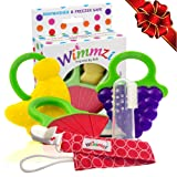 Baby & Infant Teething Pain & Gum Soreness Relief Educational Toy Massaging Teethers Set Of 3 By WIMMZI – Premium Quality, Durable, Food Grade, BPA Free, Silicone – Fruit Patterns, Ergonomic Ring Design – Striking Colors - Freezer & Dishwasher Safe