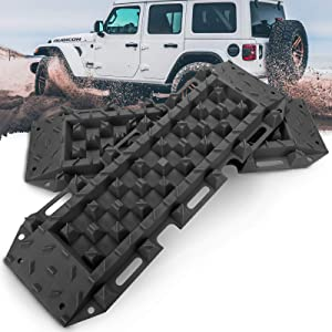 BUNKER INDUST Recovery Traction Boards Emergency Tracks Traction Mat for 4x4 Off-Road Truck Mud, Sand, & Snow-2 Pcs Black Track Tire Ladder