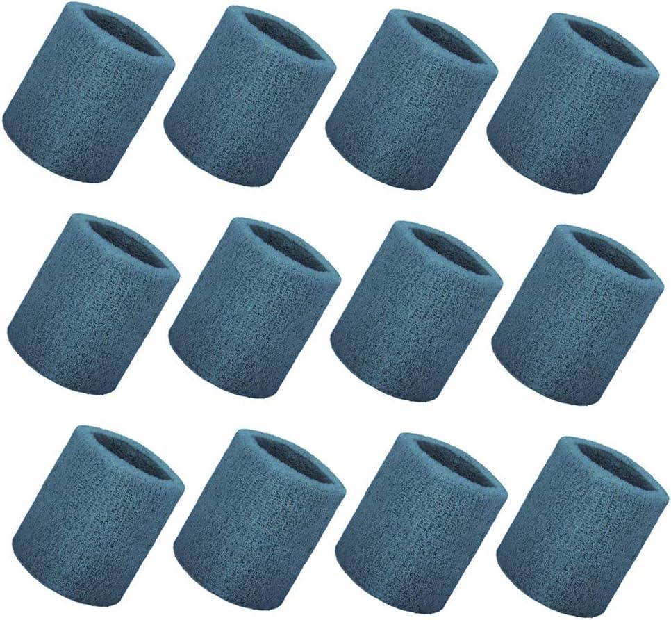 GOGO 12PCS Thick Wrist Sweatbands Wristband Solid Color