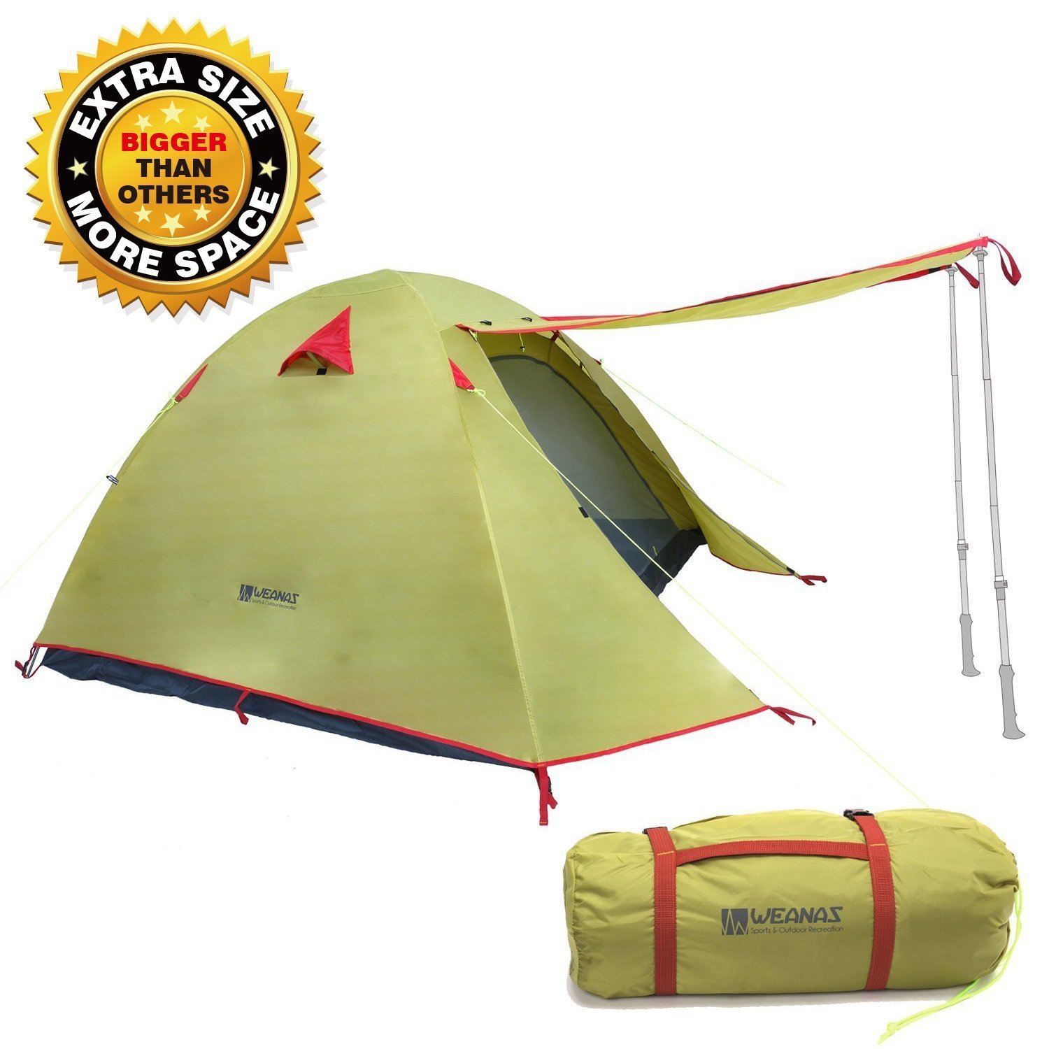 Weanas Professional Backpacking Tent 2 3 4 Person 3 Season Weatherproof Double Layer Large Space Aluminum Rod for Outdoor Family Camping Hunting Hiking Adventure Travel (Green, 2-3 Person) by Weanas