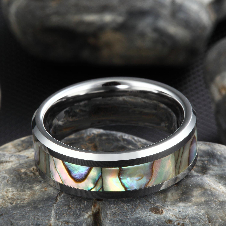 Wolframcarbid Damen Herren Ringe Abalone Muschel Design Amazon