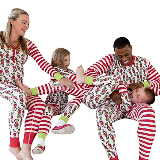 f1480b2480 Image Unavailable. Image not available for. Color  Family Matching Clothes  Set Binmer Xmas Pajamas Set Mom Dad Kids Baby ...