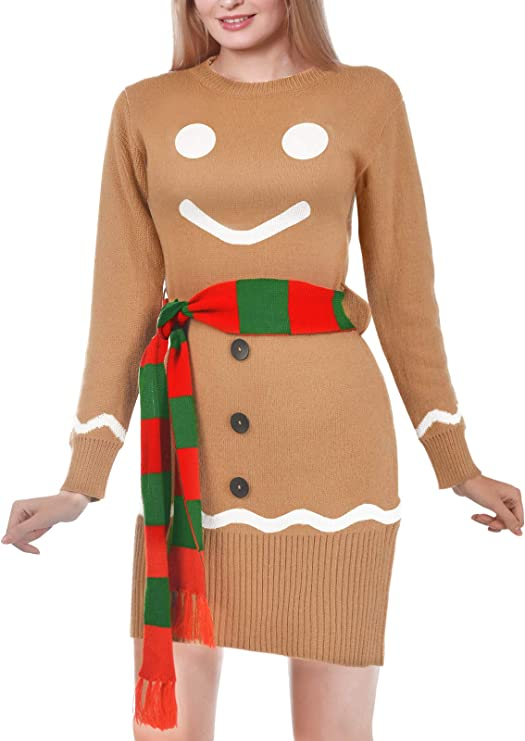 Christmas party dress with gingerbread and scarf, festive winter dresses for women Women Christmas party dresses