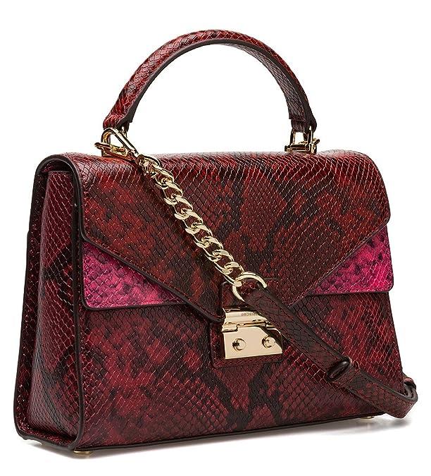 ce1de64b6a2f MICHAEL Michael Kors Sloan Medium Top-Handle Python Embossed Leather Satchel,  Red: Handbags: Amazon.com