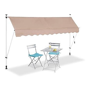 Relaxdays Auvent Retractable 300 Cm Store Manuel Balcon Marquise Soleil Terrasse Hauteur Reglable Sans Percage Beige 300 X 120 Cm