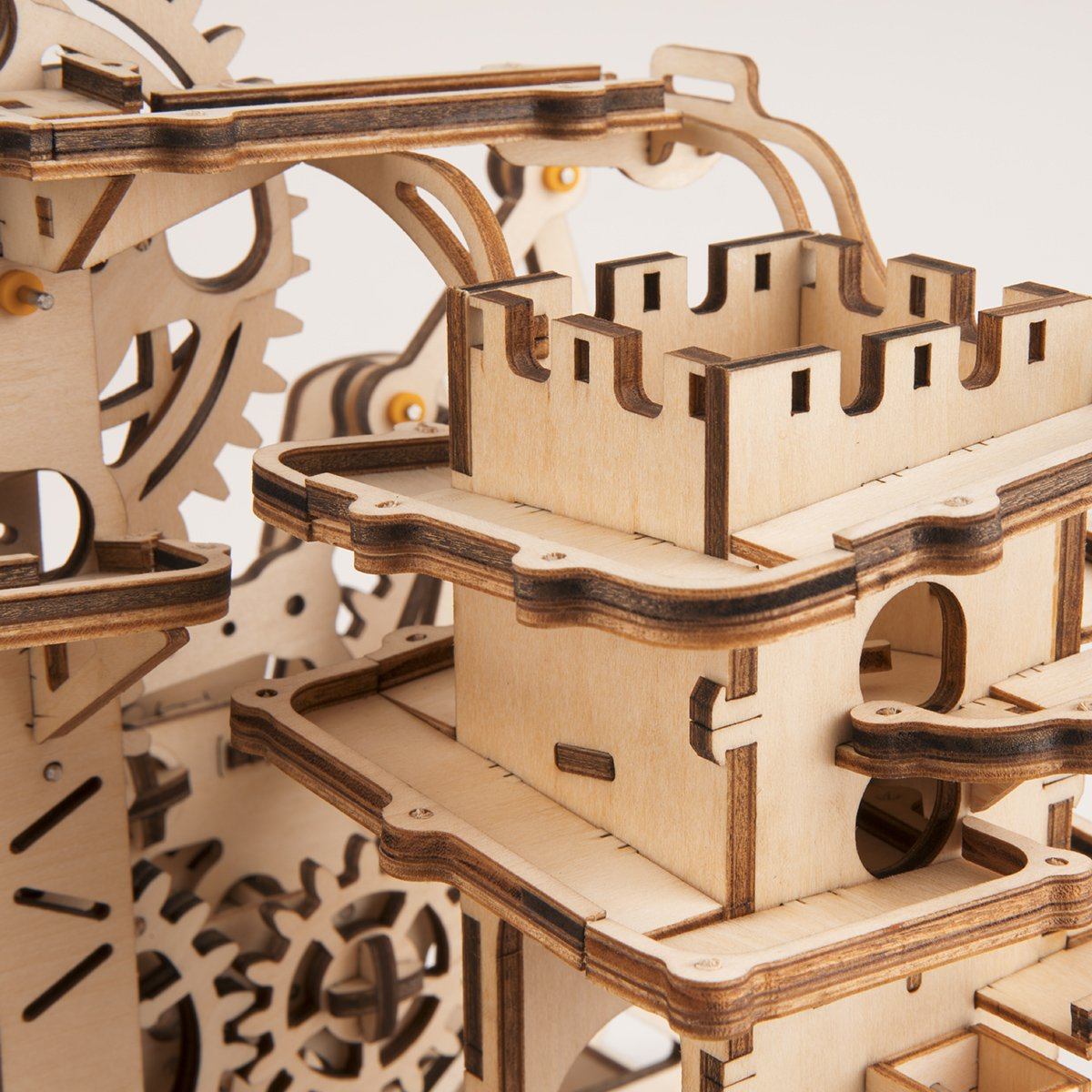 ROBOTIME 3D Wooden Puzzle Brain Teaser Toys Mechanical Gears Kit Unique Craft Kits Tower Coaster with Steel Balls Executive Desk Toys Best Gifts for Adults and Kids by ROBOTIME (Image #7)