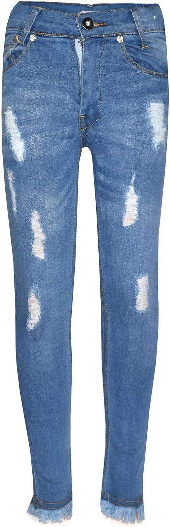 Kids Stretchy Jeans Girls Denim Jeggings Pants Trousers Leggings Age 5-13 Years