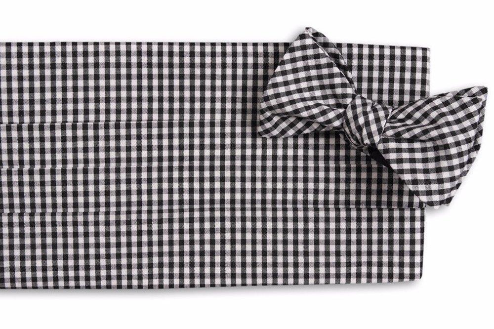 High Cotton Men's Self Tie Black Gingham Cummerbund Set
