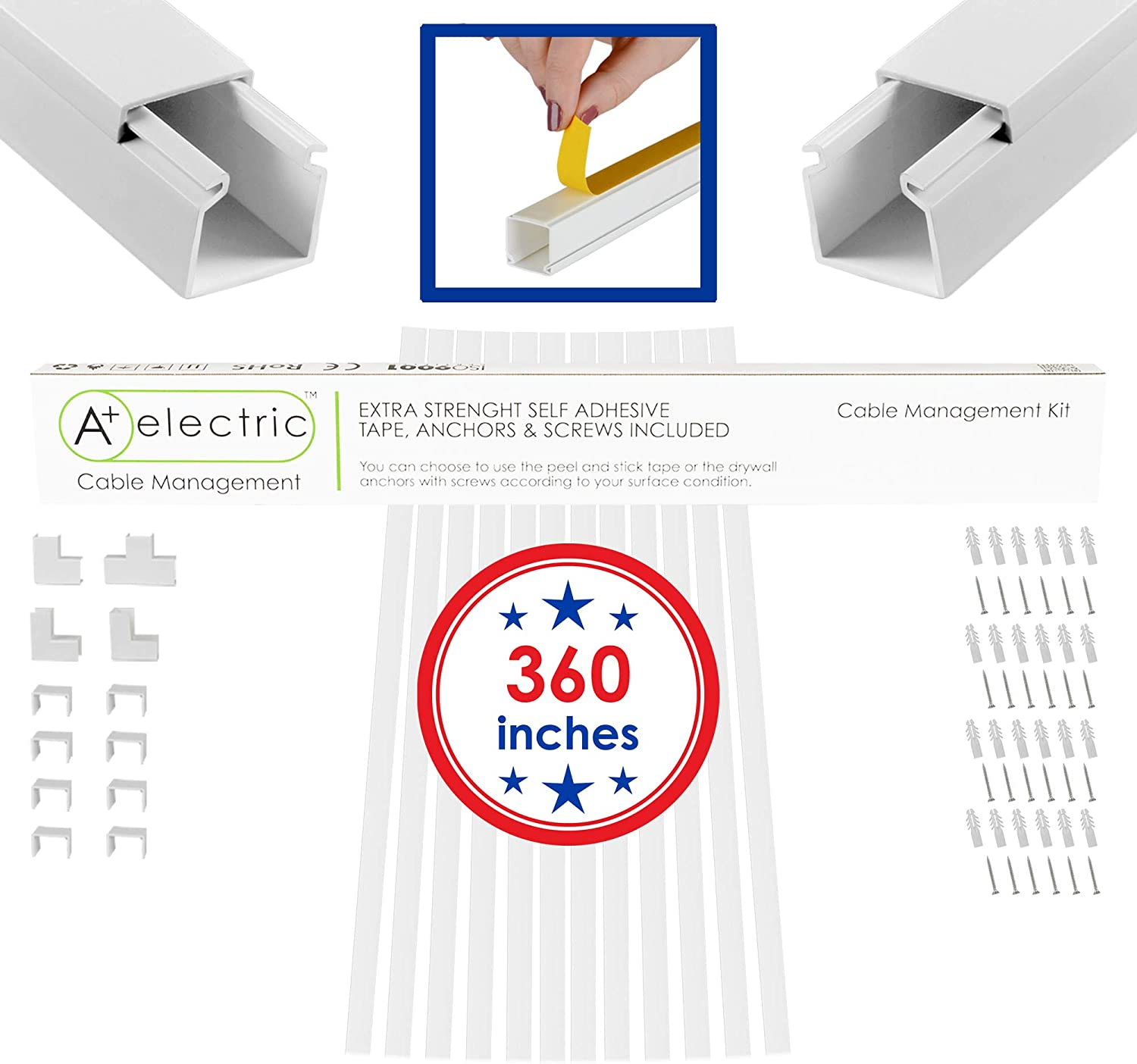 """A+ Electric Medium Cord Cover 360 in for Max 6 Cables Cable Raceway Cable Concealer Cord Management Kit Wire Cord Hider Cable Organizer On Wall White and Self Adhesive Channel 0.98""""0.98""""x360"""""""