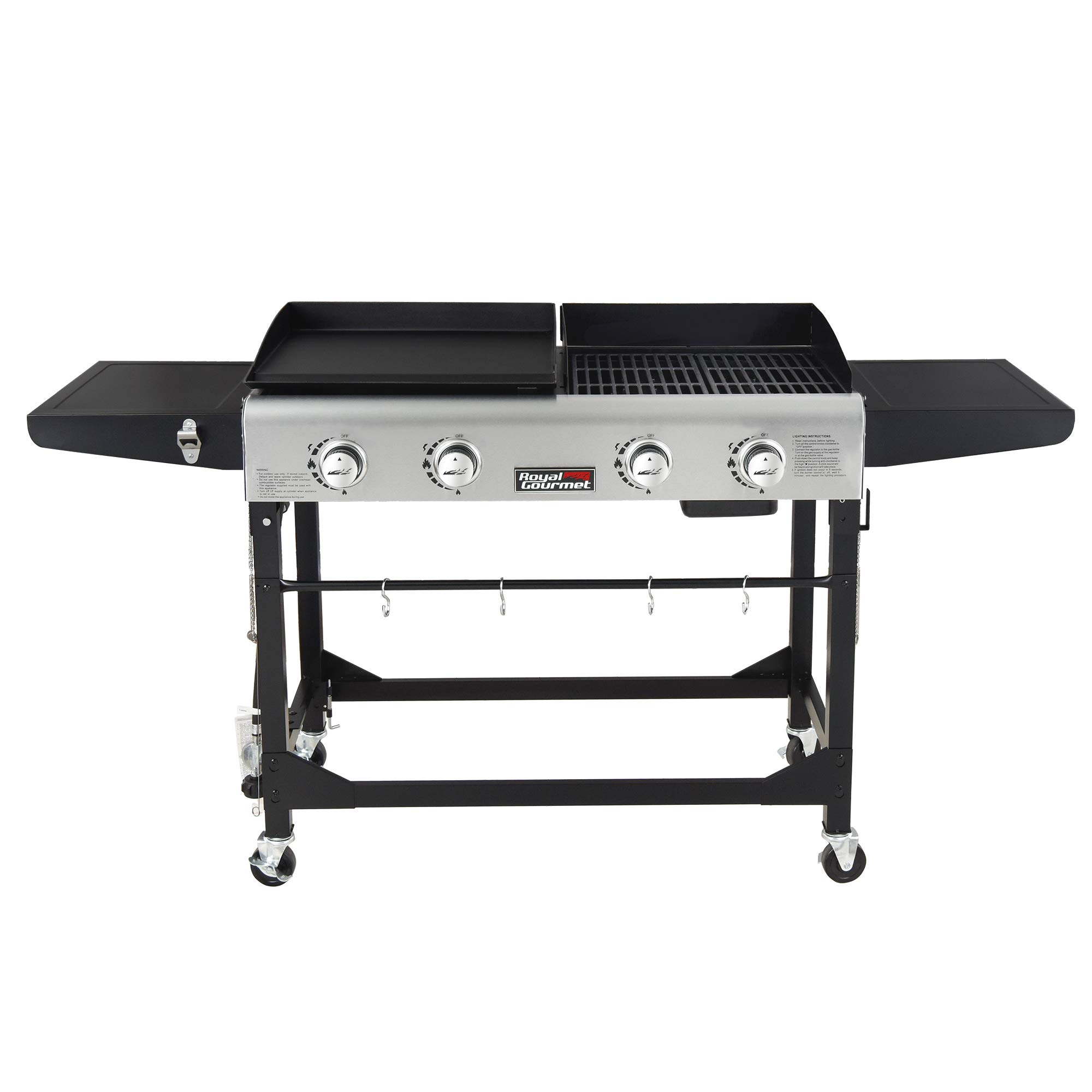 Royal Gourmet GD401 Portable Propane Gas Grill and Griddle Combo,4-Burner,Griddle Flat Top