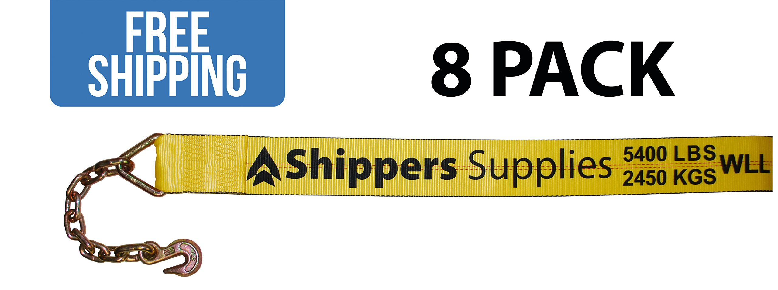 4'' x 30' Winch Strap with Chain Hook - 8 PACK Shippers Supplies