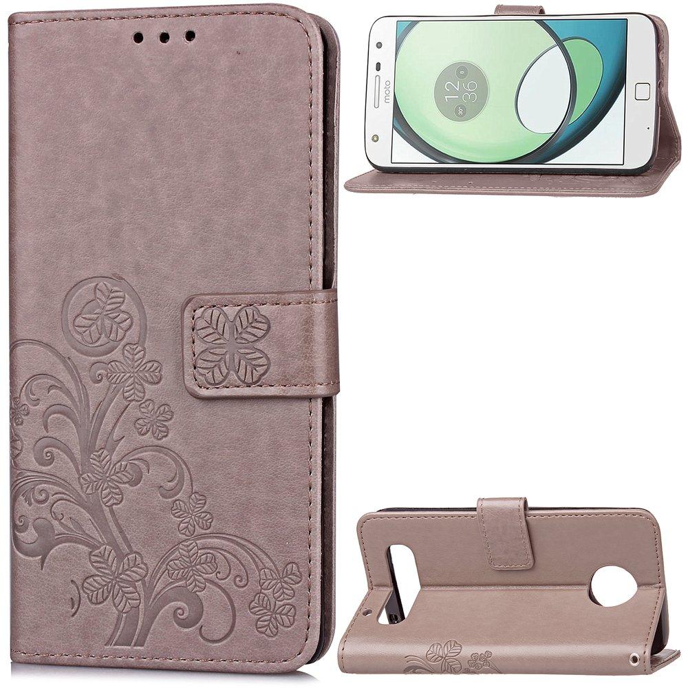 Carcasa para Funda Motorola Moto Z Play Carcasa, Cartera Flip Funda Caja de Cuero de la PU Carcasa con Tapa Flip Case TPU Funda (Gray). RF09