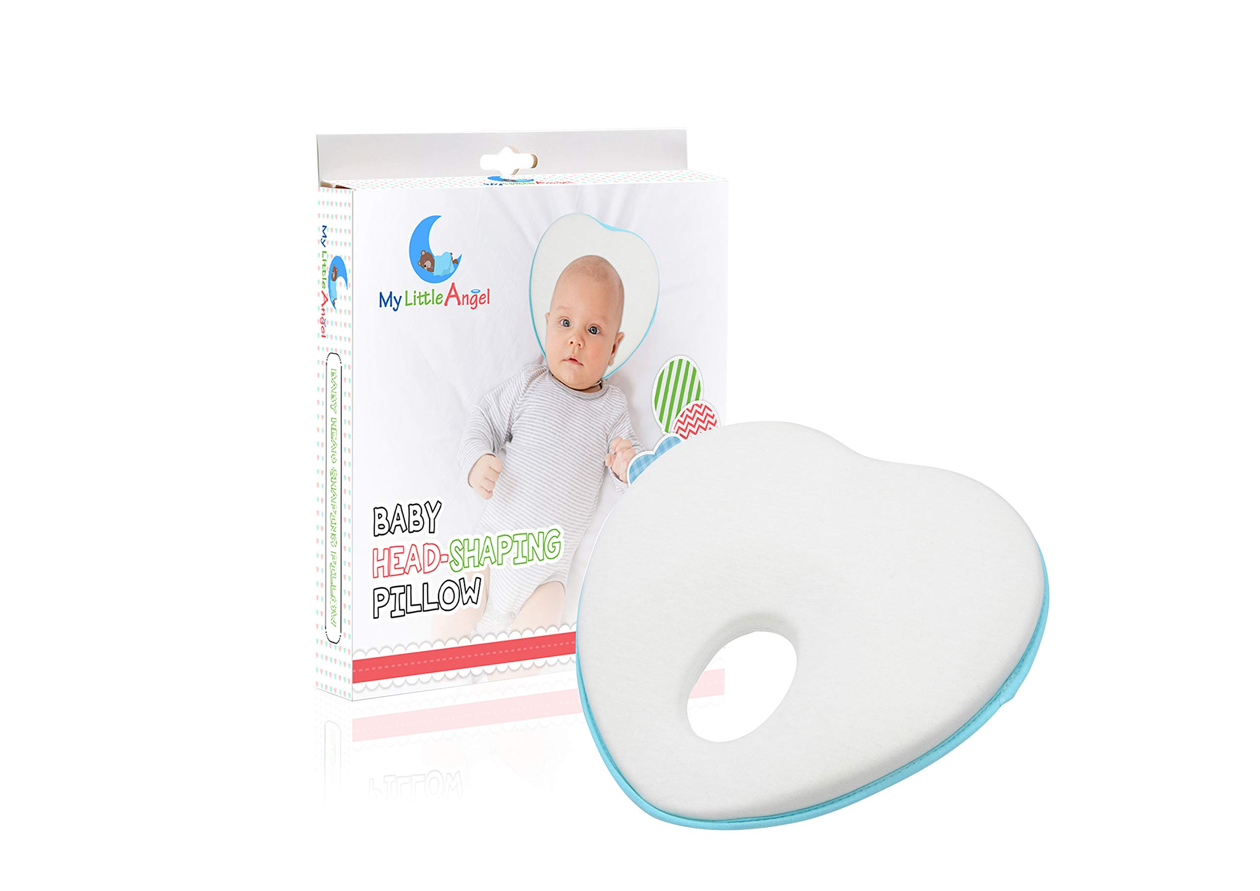 Newborn Baby Head Shaping Pillow | Flat Head Syndrome Prevention | Memory Foam Cushion | Prevent Plagiocephaly for Infants & Newborn | Baby Shower Gifts - by My Little Angel by My Little Angel