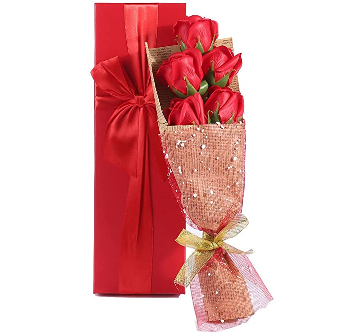 Ramo de Rosas Rojas - elegante envuelto de 5 aroma rosas en una encantadora caja de regalo mejor regalo para aniversario cumpleaños de la madre y del día de ...