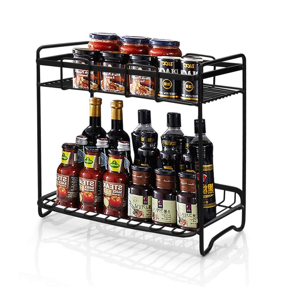 2-Tier Standing Spice Rack Organizer, WEFLAIR Iron Detachable Cans Bottles Organizer Shelf Holder for Home Kitchen Bathroom Countertop Storage (Black)