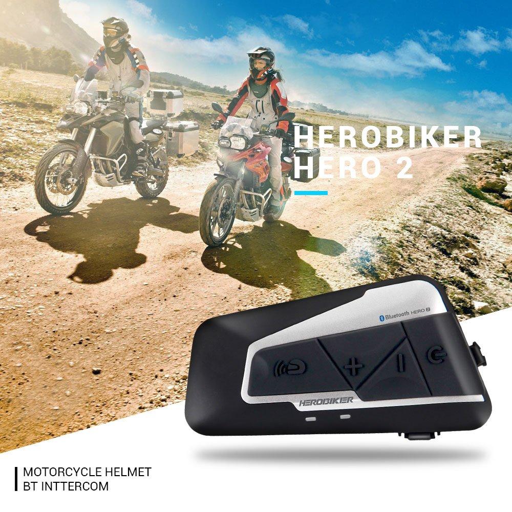Sistema de comunicación para motocicleta Herobiker Fodsports 1200 m, intercomunicador y Bluetooth manos libres, interfono de walkie talkie: Amazon.es: ...