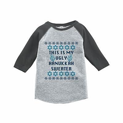7 ate 9 Apparel Kids Ugly Hanukkah Sweater Grey Raglan Tee