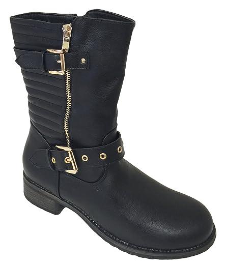 A3652S Women's Boots Faux Leather Buckle Fashion Straps Ankle Side Zipper Fur Mid Calf Moto Riding Biker Shoes