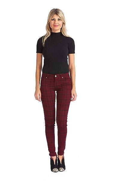 a58dfd37641 Suko Jeans Women s Stretchy Plaid Skinny Pants Jeggings 17232 Burgundy 2