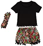 Amazon Price History for:Messy Code Girl Outfit Baby Clothes Toddler Cotton Top and Shorts with Headband Clothing Set