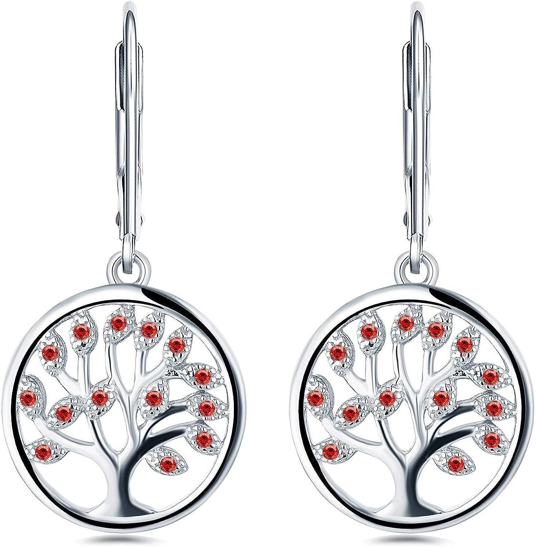 JO WISDOM Boucles doreilles arbre de la vie argent 925 femme avec AAA oxyde de zirconium femme